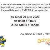 Horaires d'ouverture de l'accueil de votre CMCAS